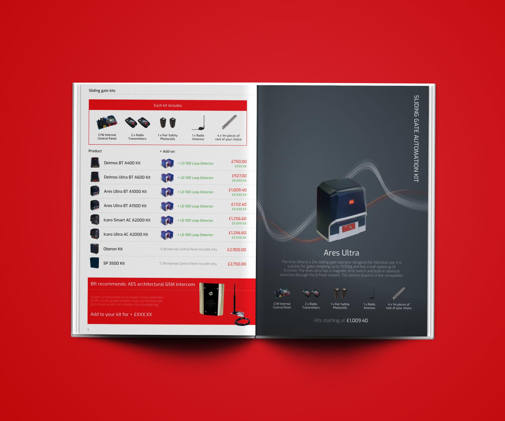 Pricelist Design for Bft Automation – Bristol Freelance